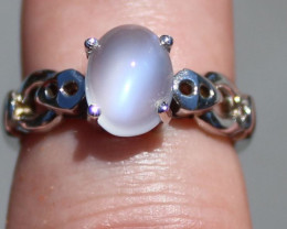Moonstone 3.03ct Rhodium Finish Solid 925 Sterling Silver Solitaire Ring