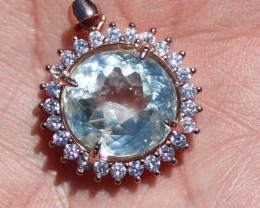 Blue Kunzite 10.60ct Rose Gold Finish Solid 925 Sterling Silver Pendant