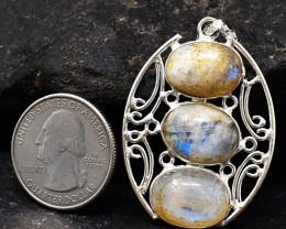 Genuine 40.00 Cts Blue Flash Moonstone Pendant