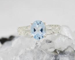 BLUE TOPAZ RING 925 STERLING SILVER NATURAL GEMSTONE JR149