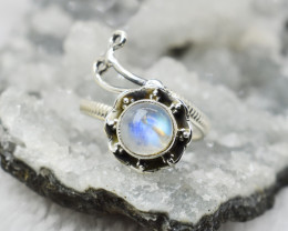 RAINBOW MOONSTONE RING 925 STERLING SILVER NATURAL GEMSTONE JR79
