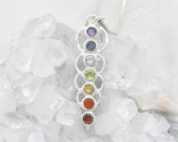 7 CHAKRA PENDANT 925 STERLING SILVER NATURAL GEMSTONE JP66