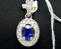 Natural 18K White Gold Ceylon Blue Sapphire And Diamond Pendant
