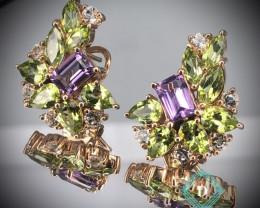 Peridot , Amethyst  & white Topaz 925 Silver Earring  by DANI Jewellery
