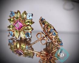 Peridot ,Garnet& Swiss Topaz 925 Silver Earring  by DANI Jewellery