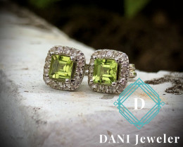 Natural Peridot with white Topaz 925 Silver Earring  by DANI Jewellery