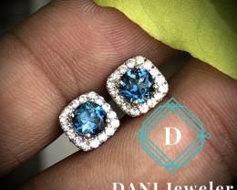 London Blue Topaz 925 Silver Earring by DANI Jewellery