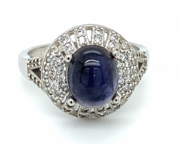 Iolite 3.38ct Rhodium Finish Solid 925 Sterling Silver Solitaire Ring
