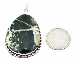 Genuine 100.00 Cts Tree Agate Tibet Silver Pendant