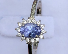 Natural Tanzanite With Cz 925 Silver Ring