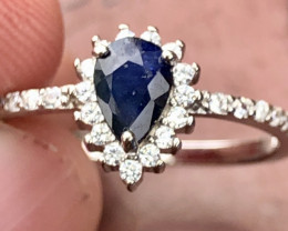 Natural Sapphire With Cz 925 Silver Ring