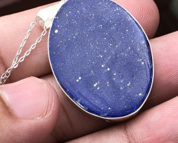 Natural Lapis Lazuli Hand Made 925 Silver Necklace With Chain