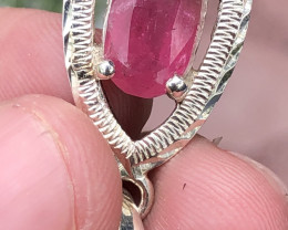 Natural Rubellite Tourmaline With Cz Hand Made 925 Silver Necklace+Chain