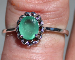 Columbian Emerald 1.40ct Rhodium Finish Solid 925 Sterling Silver Solitaire