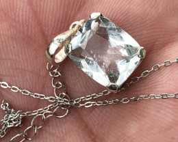 Natural Aquamarine Hand Made 925 Silver Necklace+Chain