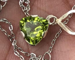 Natural Peridot Hand Made 925 Silver Necklace+Chain