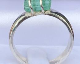 Natural Emerald Rough Crystal Hand Made 925 Silver Ring
