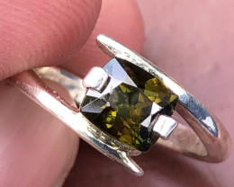 Natural Sphene Hand Made 925 Silver Ring