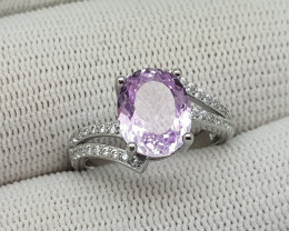 Natural 17 Ct pink kunzite 925 silver ring from afghanistan.