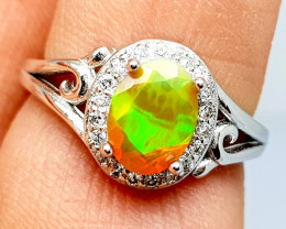 Natural 6 Size Opal Ring Pure 925 Sterling Silver