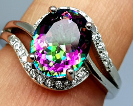 Stunning Mystic Topaz Ring 925 Sterling Silver Ring.