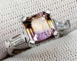 Natural Bolivian Ametrine Beautiful 925 Sterling Silver Ring (NJT50)