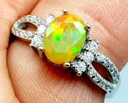 Natural Multi Fire Opal Ring Pure 925 Sterling Silver