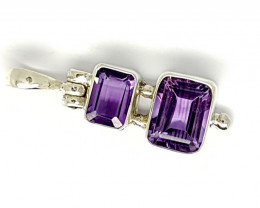 Natural Amethyst Pendants 925 Sterling Silver Pendants (JE51)