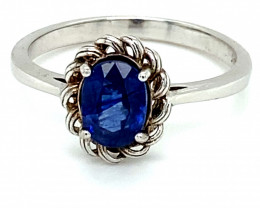 Blue Sapphire 1.65ct Rhodium Finish Solid 925 Sterling Silver Solitaire Rin