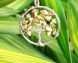 Natural Life Tree Style Beautiful Unakite  Pendant  21.85 Ct. in Stainless