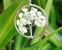 Natural Beautiful White Color  Quartz Pendant  Life Tree Shape 18.15  Ct. i
