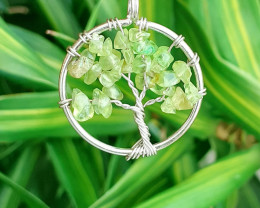 Natural Peridot Tree of Life Pendant 19.50  Ct.  in Stainless Steel