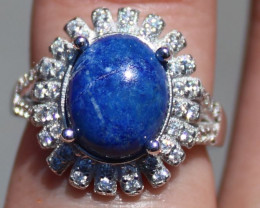Lapis Lazuli 4.50ct Rhodium Finish Solid 925 Sterling Silver Solitaire Ring