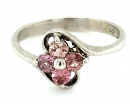 Pink Tourmaline .60ct Rhodium Finish Solid 925 Sterling Silver Multistone R