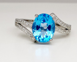 Natural Beautiful Blue Topaz Ring 925 Sterling Silver Ring