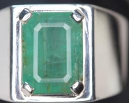 5.59 cts Natural Emerald Transparent for men  Handmade 925 Sterling silver