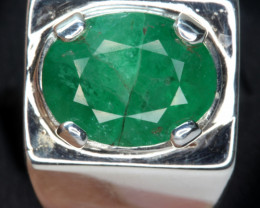 4.20 cts Natural Emerald Transparent for men Handmade 925 Sterling silver r