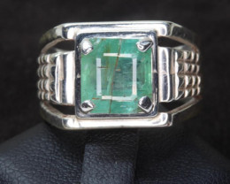 3.52  cts Natural Emerald Transparent for men Handmade 925 Sterling silver