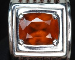 4.15 cts Natural    hessonite  Garnet    Transparent for men Handmade 925 S
