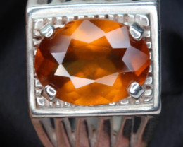 3.27 cts Natural    hessonite  Garnet    Transparent for men Handmade 925 S