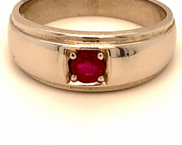 Ruby .30ct Rhodium Finish Solid 925 Sterling Silver Men and Boys Solitaire