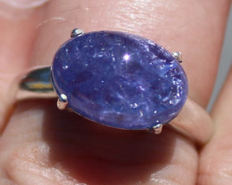 Tanzanite 8.32ct Rhodium Finish Solid 925 Sterling Silver Solitaire Ring