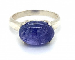 Tanzanite 8.32ct Platinum Finish Solid 925 Sterling Silver Solitaire Ring