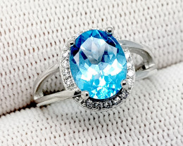 Natural blue topaz 925 silver ring 17 carats 10x8x6mm