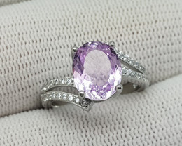 Natural pink kunzite 925 silver ring 17 carats 10x8x6mm