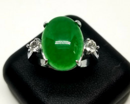 Natural Jadeite Jade Stainless Steel Ring With Cubic Zirconia