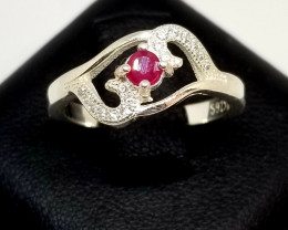 Natural Burma Heated Ruby Silver 925 Ring With Cubic Zirconia