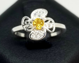 Natural Citrine Silver925 Ring With Cubic Zirconia