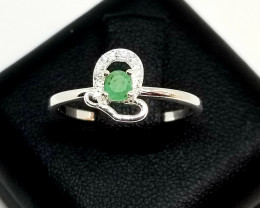 Natural Zambain Emerald Silver Ring With Cubic Zirconia