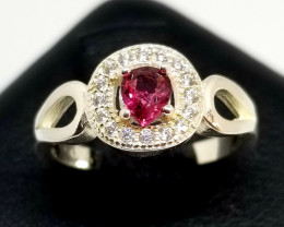 Natural Mogok Spinel Silver Ring With Cubic Zirconia